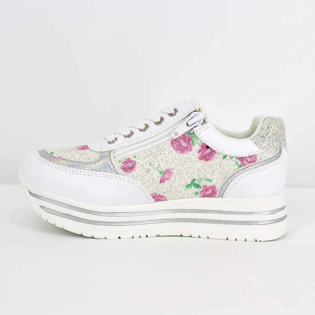 Immagine di LE DIVINE - Sneakers bassa con glitter e fiori