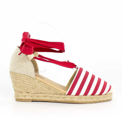 Immagine di TATOO - Espadrillas lace up a righe, zeppa 7cm