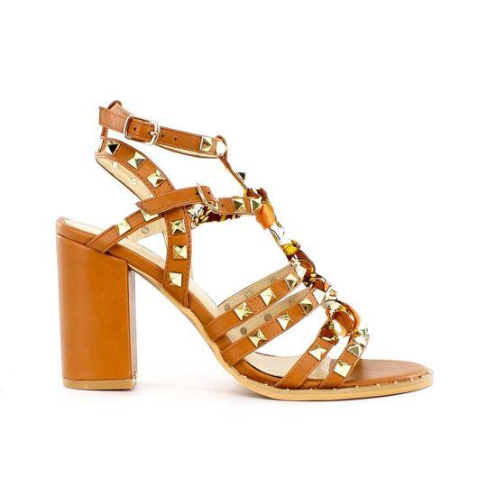 Immagine di MISS GLOBO - Sandalo con borchie e fascia centrale fantasia tacco 9,5cm