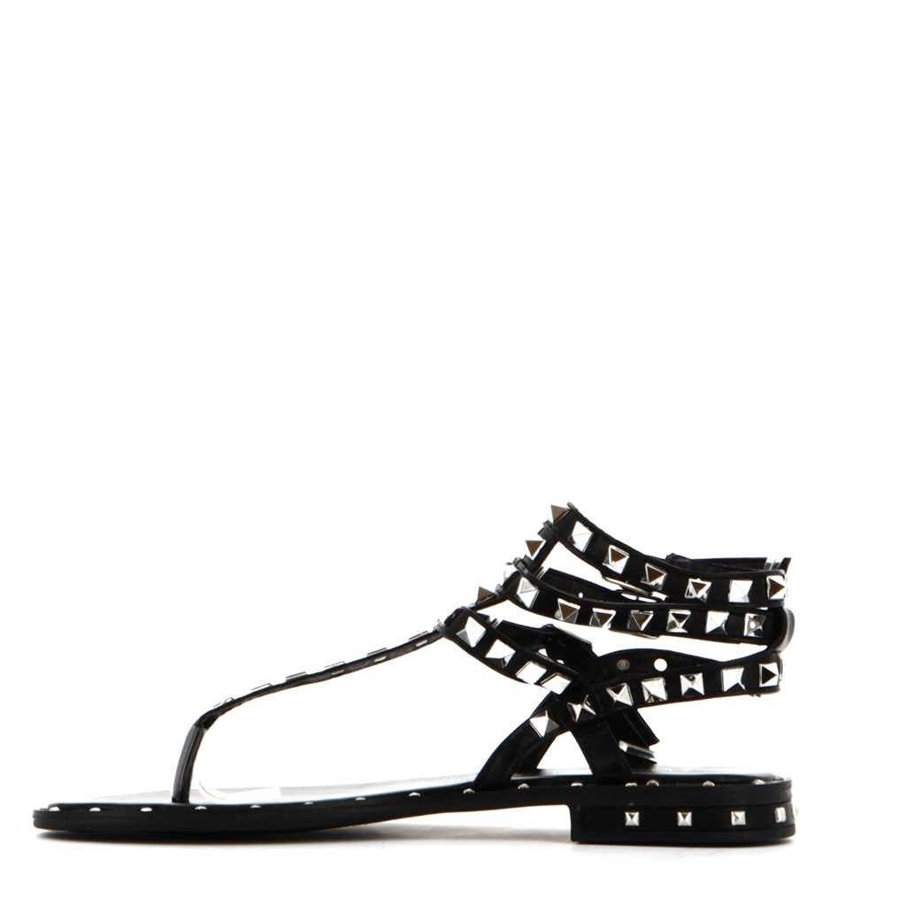 Immagine di VANILLA PUNK- Sandalo infradito con borchie e tre fibbie alla caviglia