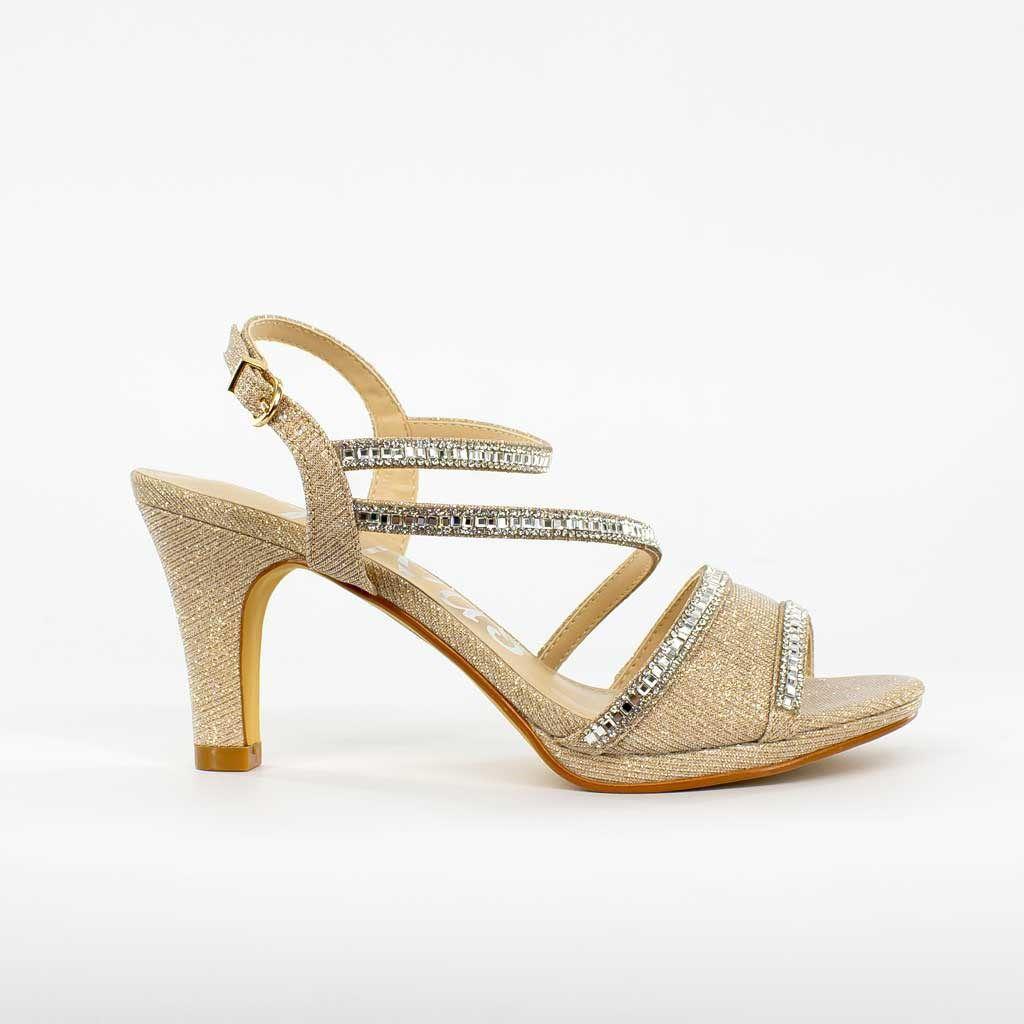 Immagine di DIVAS- Sandalo gioiello con fascia lurex e strass, tacco 8,5CM