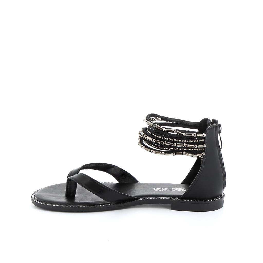 Immagine di BACHATA- Sandalo infradito multifasce alla caviglia con strass e borchie