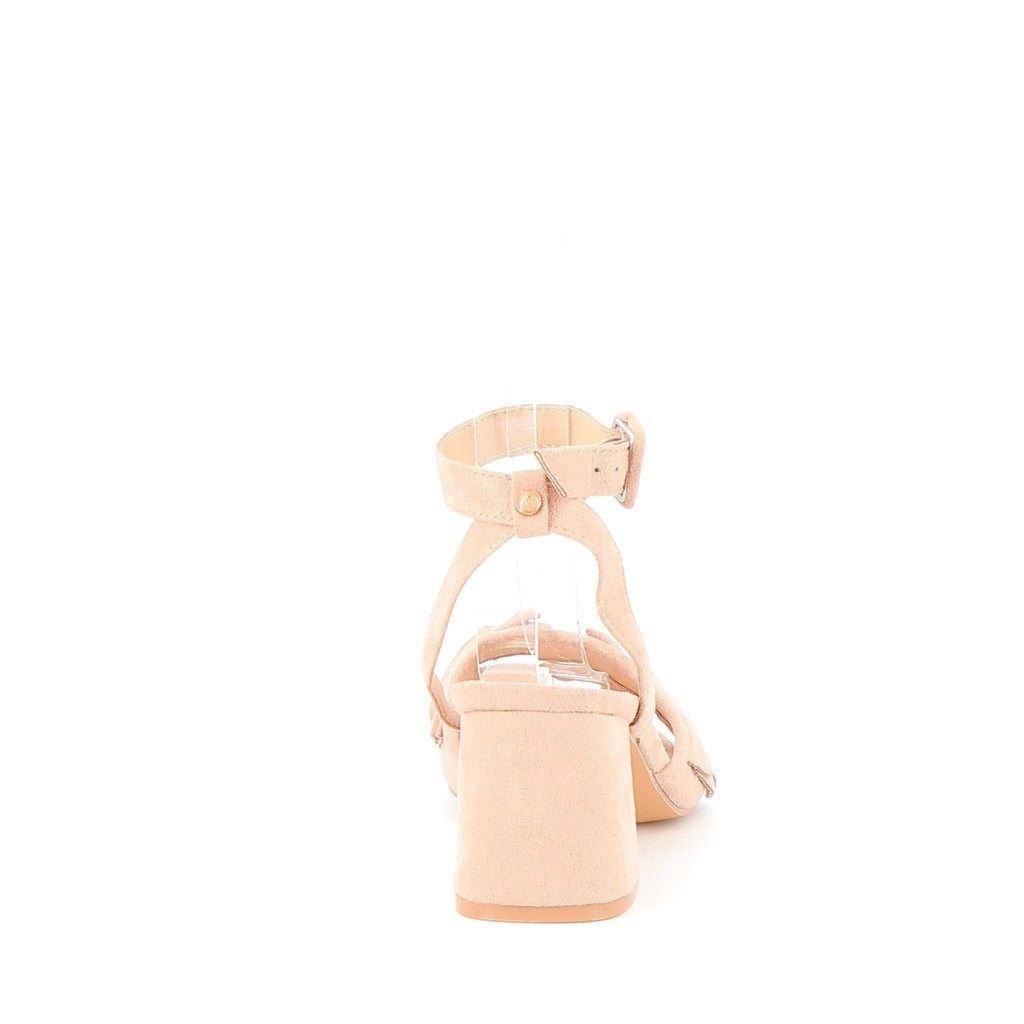 Immagine di MISS GLOBO- Sandalo con fascia volant e cinturino alla caviglia, tacco 7,5CM