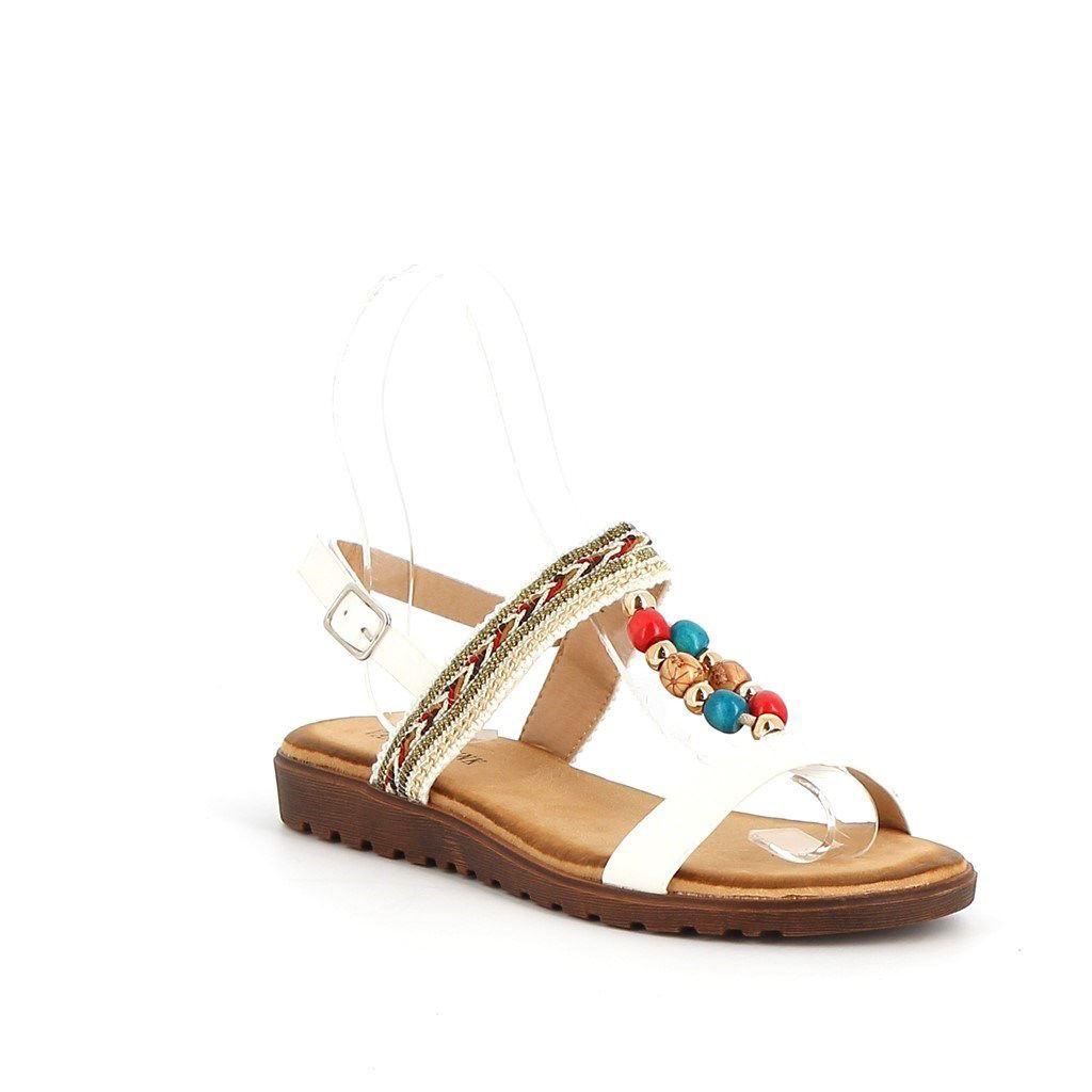 Immagine di VANILLA PUNK- Sandalo con fascia etnica e perline