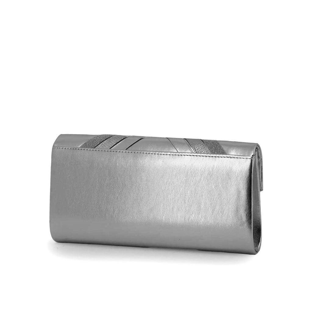 Immagine di DIVAS- Pochette effetto metallizzato con fasce incrociate su patta