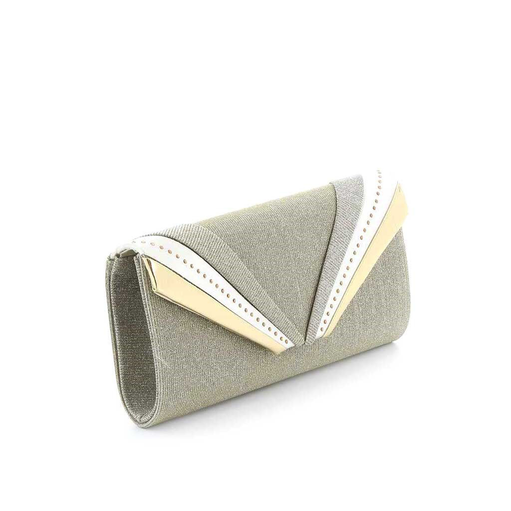 Immagine di DIVAS- Pochette lurex con fasce diagonali e strass su patta