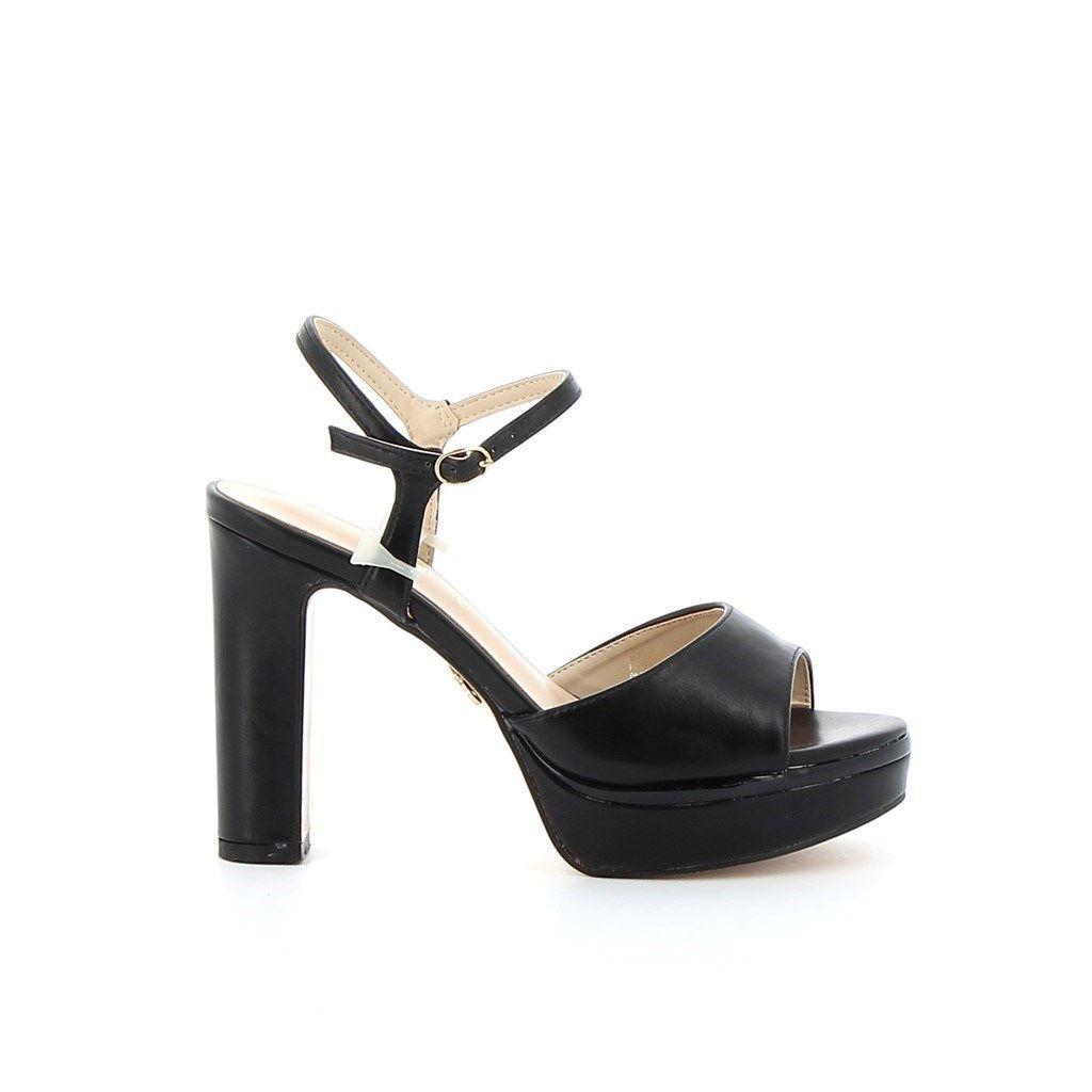 Immagine di MISS GLOBO- Sandalo con sottopiede in VERA PELLE e cinturino alla caviglia, tacco 12CM