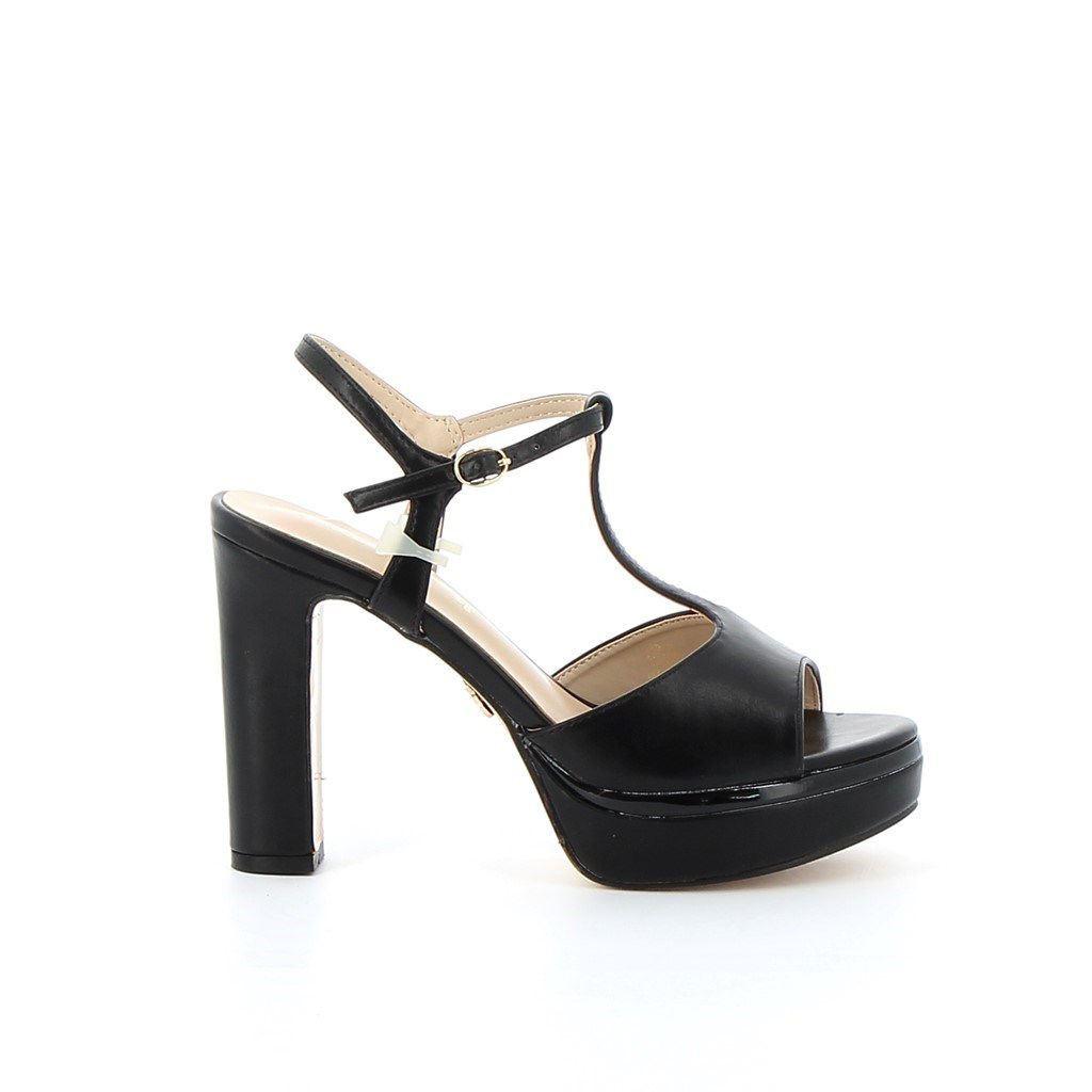 Immagine di MISS GLOBO- Sandalo T-strap con sottopiede in VERA PELLE, tacco 12CM
