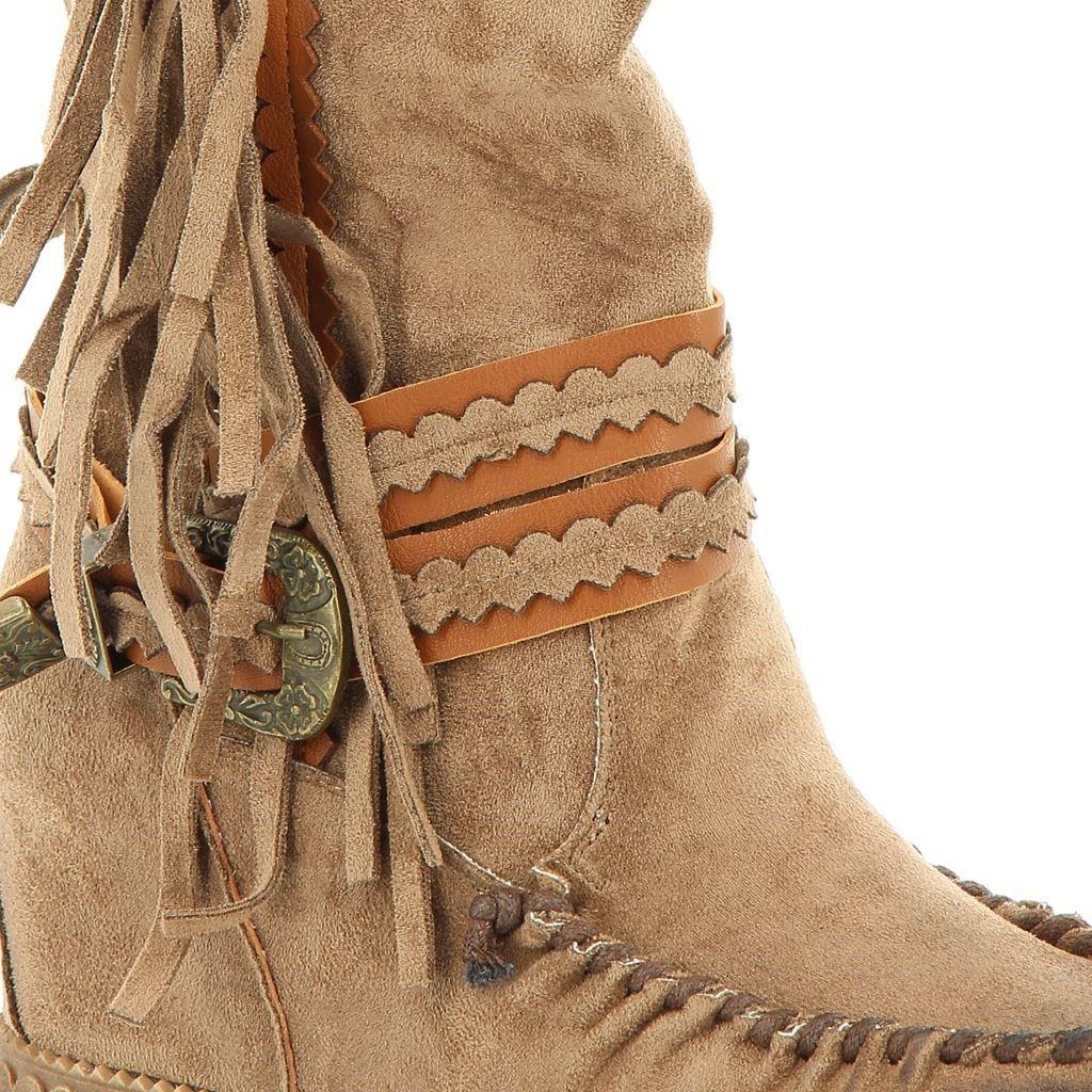 Immagine di MISS GLOBO- Stivali con fibbia e frange, zeppa interna 6CM