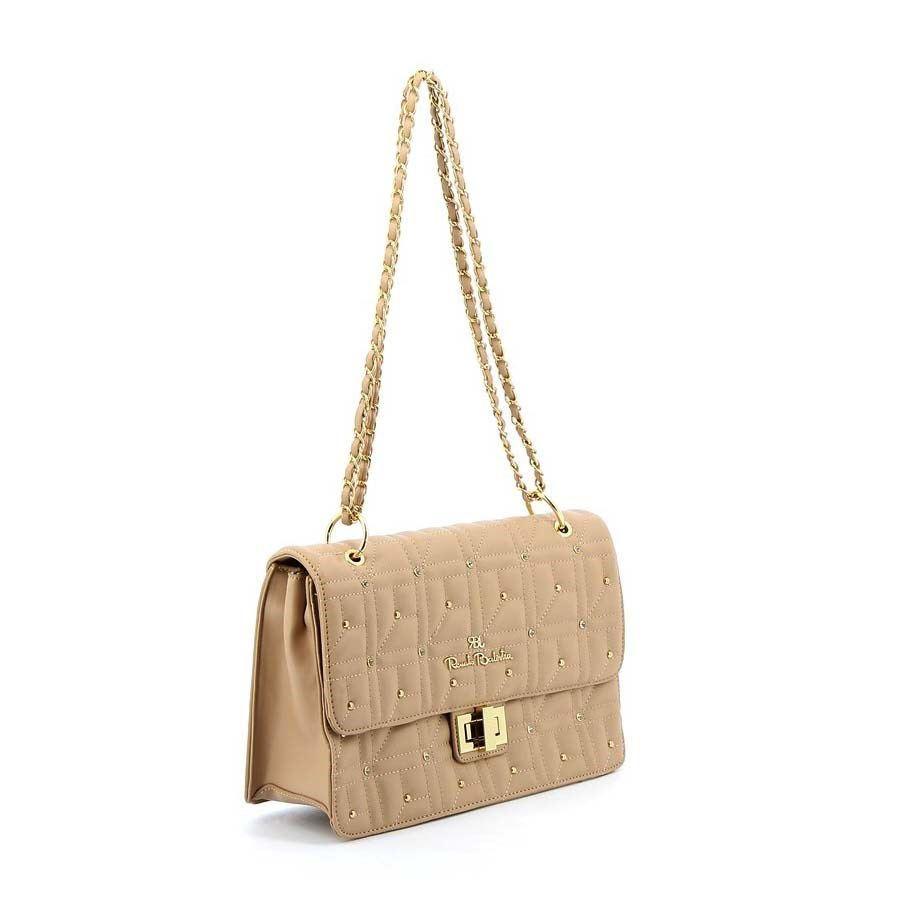 Immagine di RBJ RENATO BALESTRA- Tracolla/ borsa due manici trapuntata con borchie tonde e strass