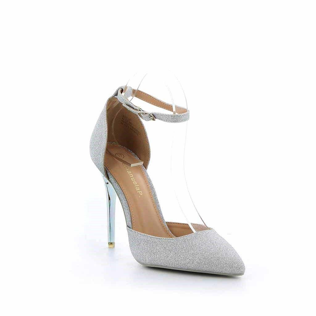 Immagine di EMANUELA P- Décolleté glitterata con cinturino alla caviglia e tacco effetto specchiato 10,5CM
