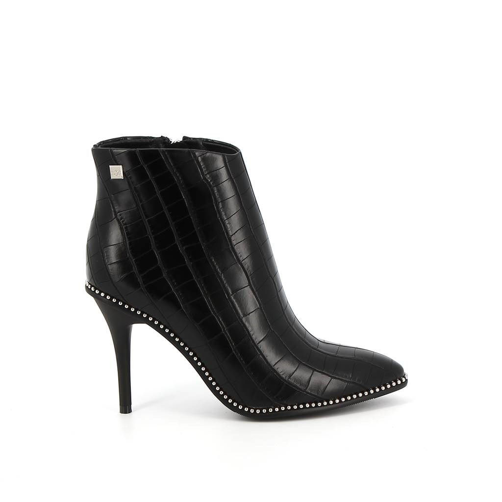Immagine di MISS GLOBO- Ankle boots a punta in cocco con borchie e tacco 9CM