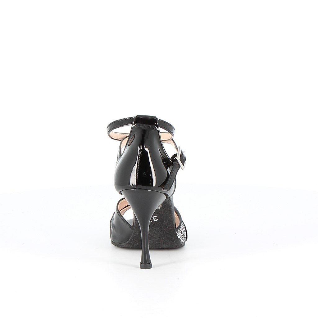 Immagine di LOVE TO DANCE- Dècolletè da ballo glitter con cinturini incrociati e sottopiede in VERA PELLE, MADE IN ITALY, tacco 9,5CM