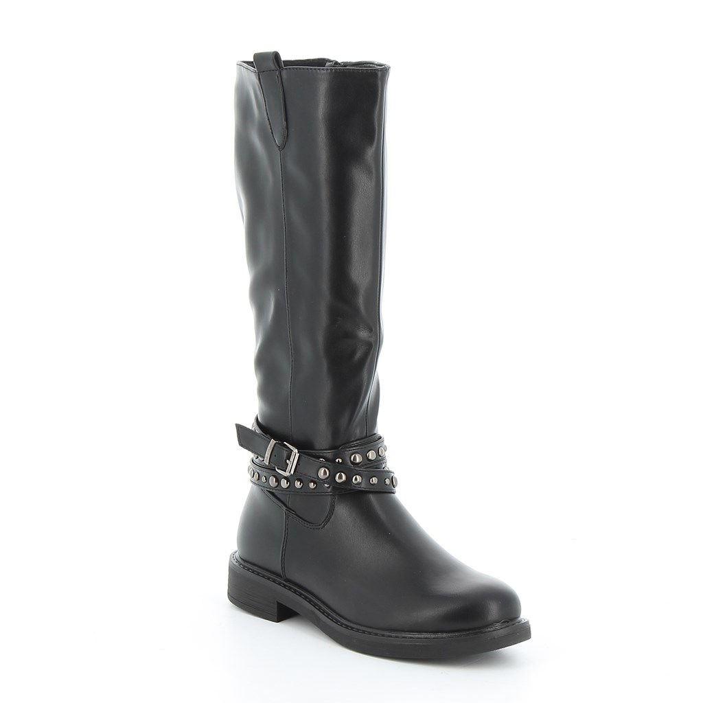 Immagine di ZOE- Stivale con cinturini borchiati e fibbia alla caviglia, tacco 3CM