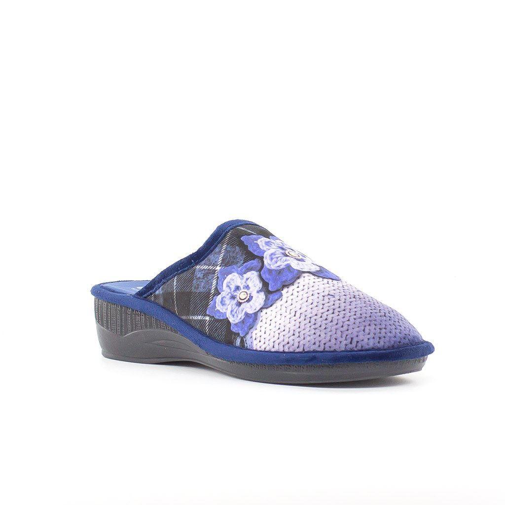 Immagine di BLU STAR- Pantofola con stampa fiori, MADE IN ITALY