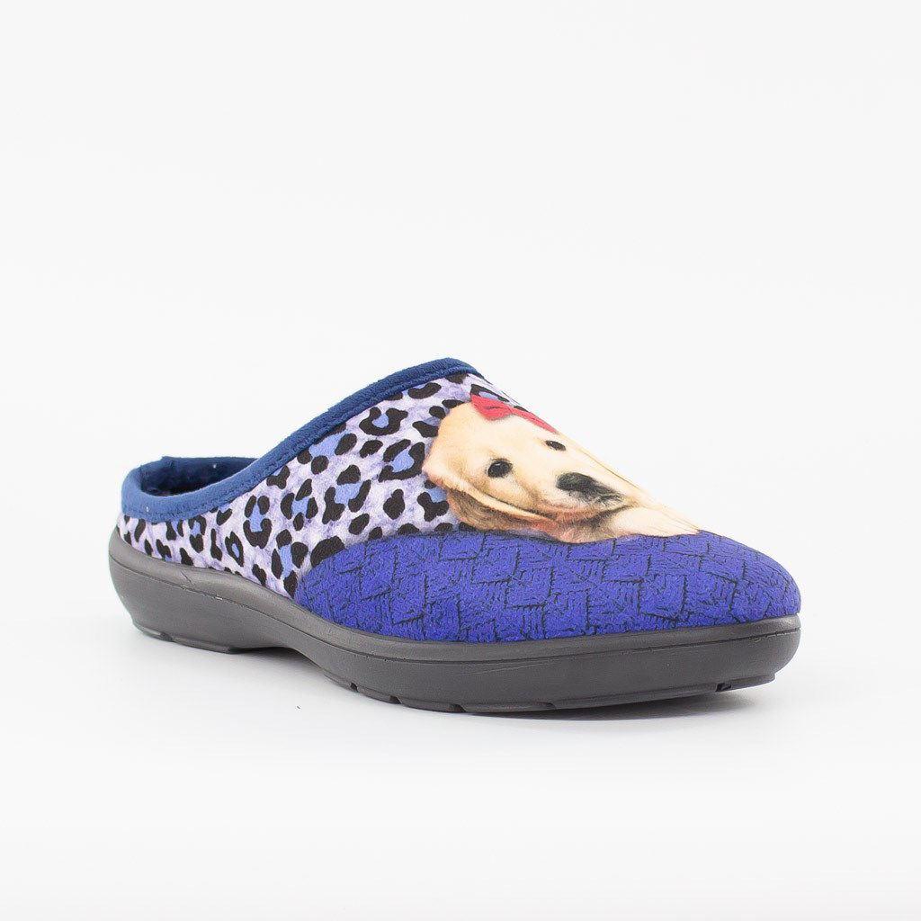 Immagine di BLU STAR- Pantofola con stampa cucciolo, MADE IN ITALY