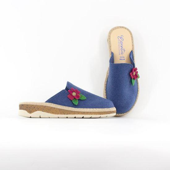 Immagine di ESSENTIA- Pantofole in VERA PELLE con applicazione fiore, MADE IN ITALY
