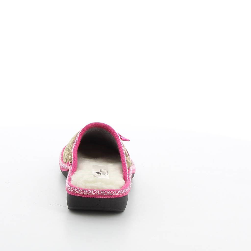 Immagine di SOFTY- Pantofole maculate con fiocchetto e pelliccia interna, MADE IN ITALY