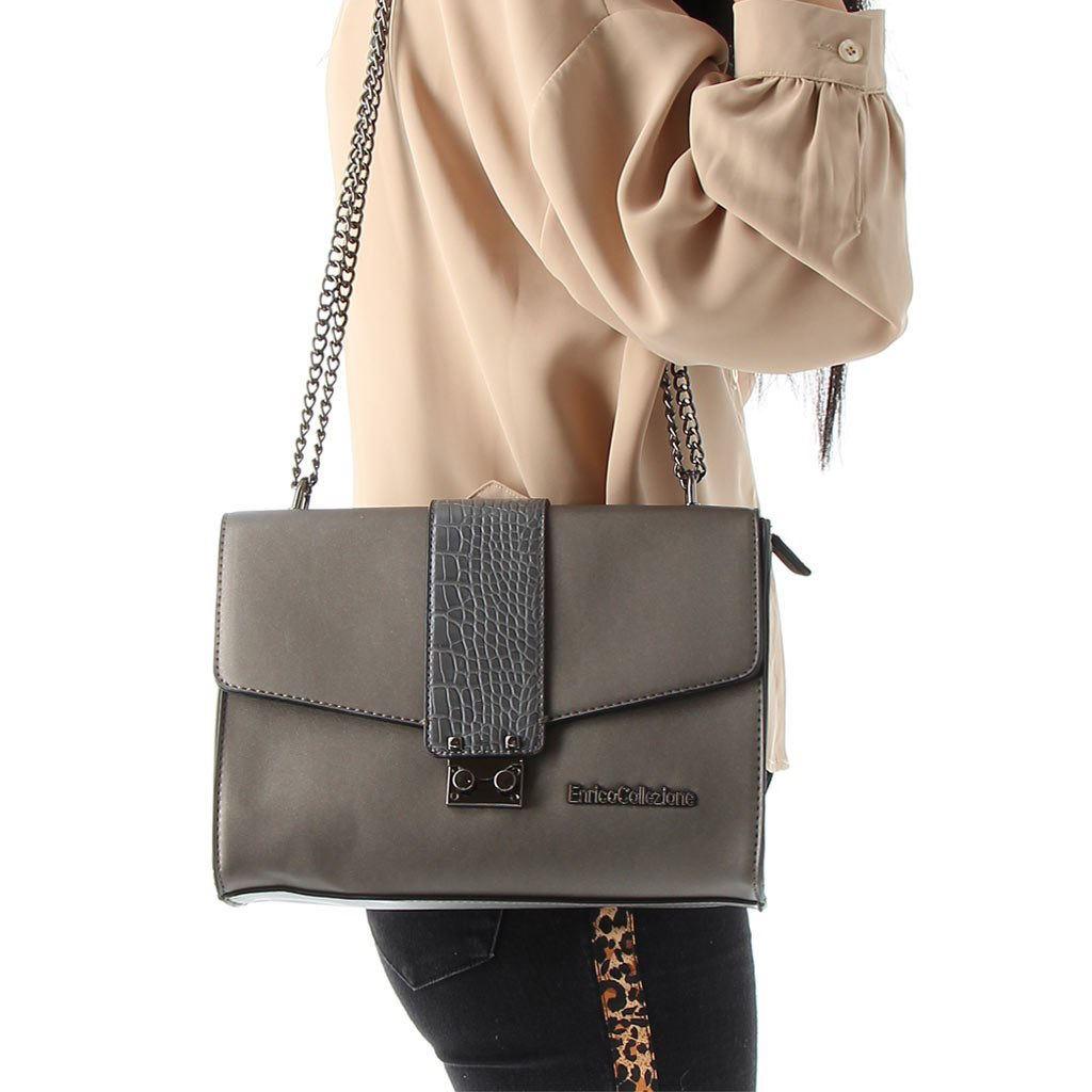 Immagine di ENRICO COLLEZIONE- Tracolla con tasca posteriore e inserto in cocco sulla patta