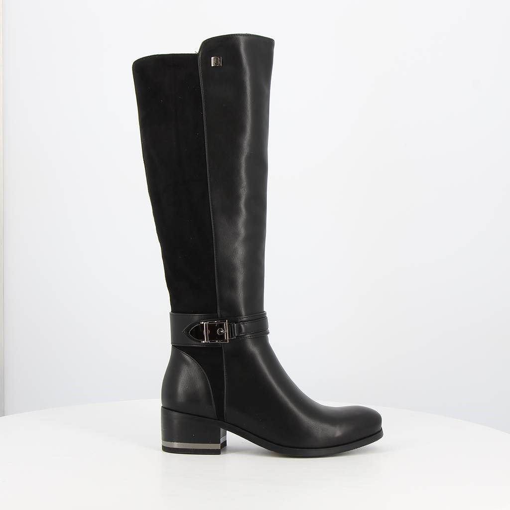 Immagine di LAURA BIAGIOTTI - Stivale con gambale bimateriale e fibbia alla caviglia, tacco 4,5CM