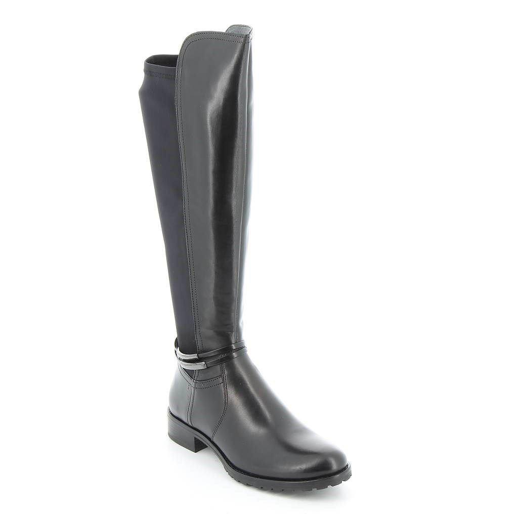 Immagine di ELLEN BLAKE- Stivale con gambale bimateriale e dettaglio alla caviglia, tacco 3CM - VERA PELLE