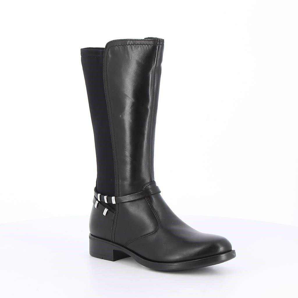 Immagine di BABY RE -Stivale con gambale bimateriale e dettaglio alla caviglia, tacco 3CM - VERA PELLE