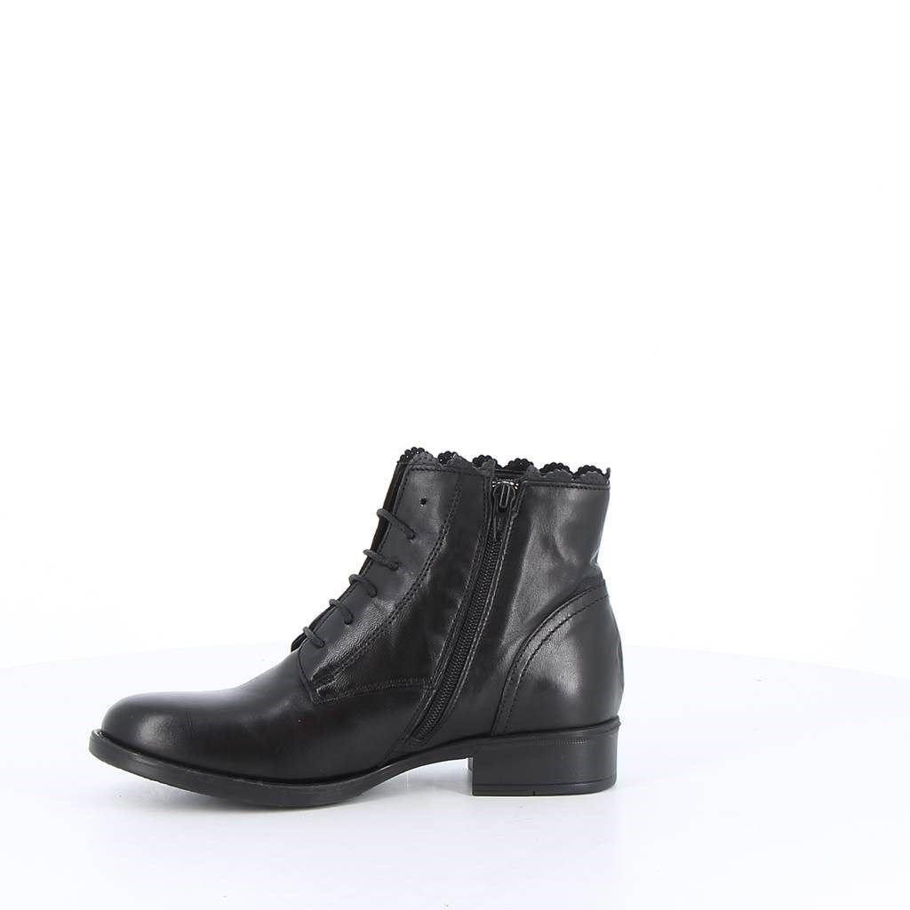 Immagine di BABY RE -Stivaletto con lacci e dettaglio ricamo alla caviglia, tacco 3CM - VERA PELLE