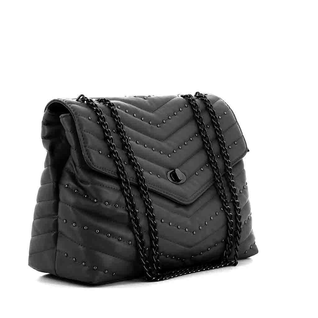 Immagine di ENRICO COLLEZIONE - Tracolla trapuntata con borchie e catena regolabile