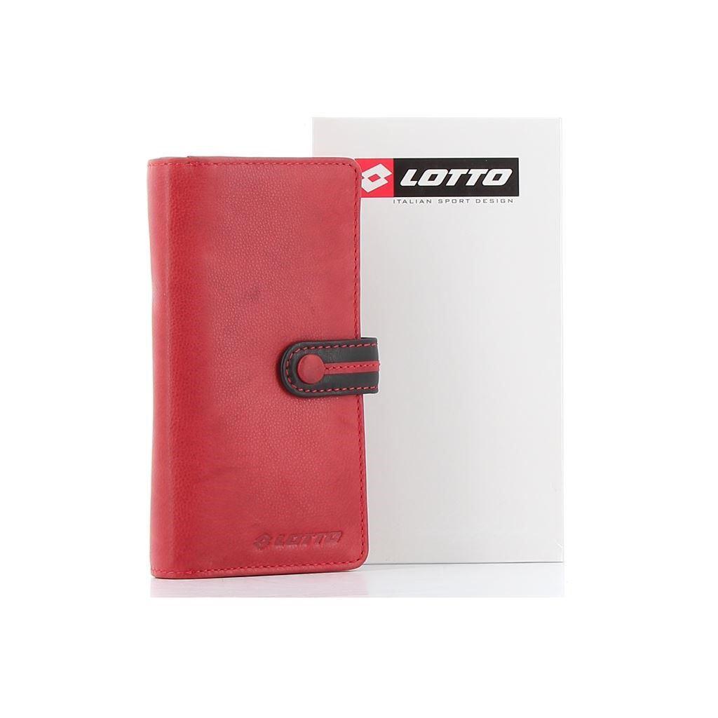 Immagine di LOTTO - Portafoglio in VERA PELLE con cerniera e chiusura a bottone a contrasto