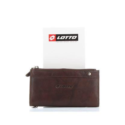 Immagine di LOTTO - Portafoglio in VERA PELLE con tasca portaspicci e chiusura a bottone a contrasto