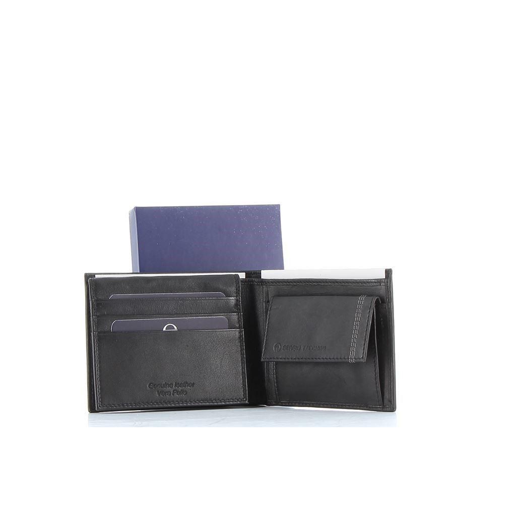 Immagine di SERGIO TACCHINI - Portafoglio in VERA PELLE con doppio scomparto banconote e tasca portaspicci
