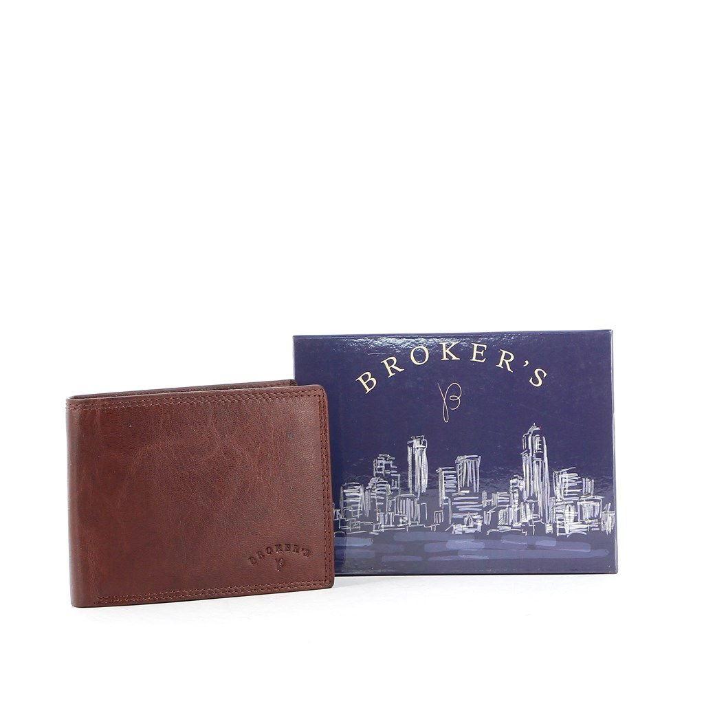 Immagine di BROKER'S - Portafoglio in VERA PELLE con porta carte di credito e doppio scomparto banconote