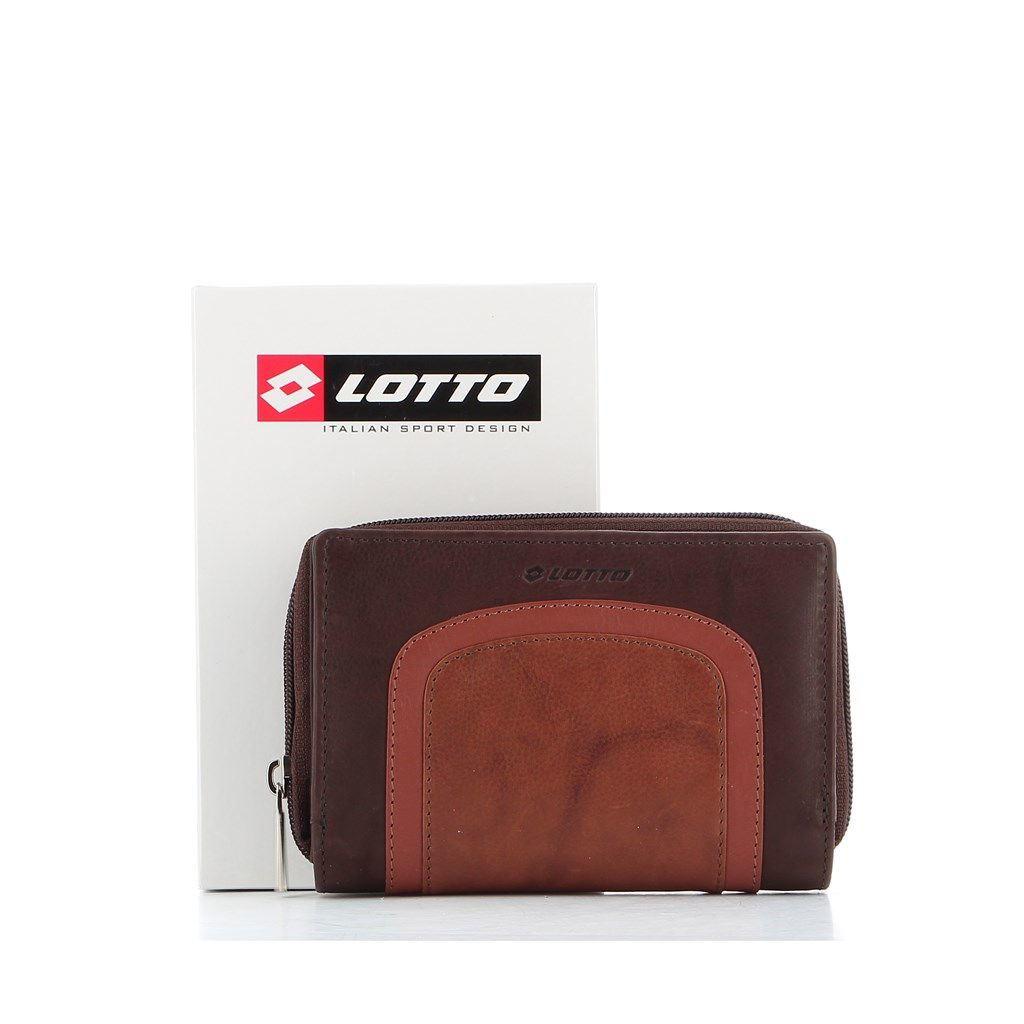 Immagine di LOTTO - Portafoglio in VERA PELLE con tre scomparti e inserto a contrasto
