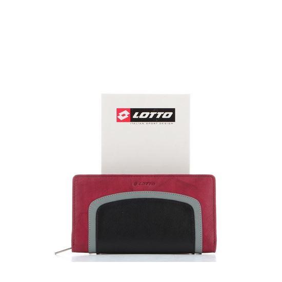 Immagine di LOTTO - Portafoglio in VERA PELLE con scomparto porta carte di credito e inserto a contrasto