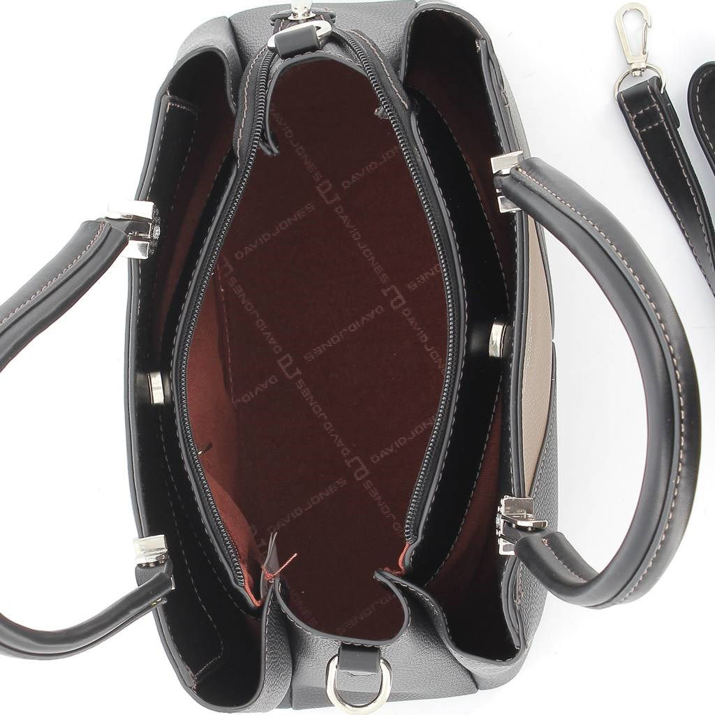 Immagine di DAVID JONES - Borsa due manici con fasce oblique e tracolla rimovibile