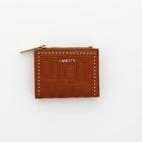 Immagine di LANCETTI - Portafoglio piccolo con rivetti e tasca porta spicci