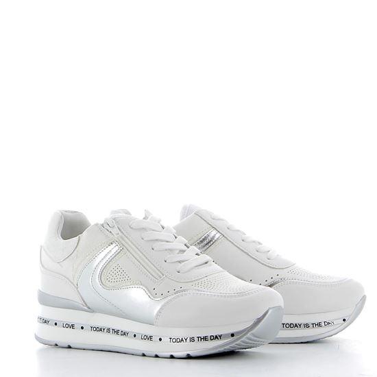Immagine di DETTAGLI - Sneakers con dettagli glitter, cerniera laterale e sottopiede in VERA PELLE