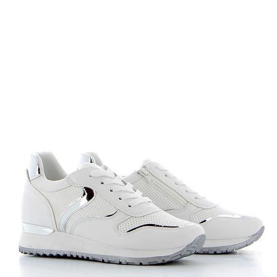 Immagine di DETTAGLI - Sneakers con patch effetto specchio, cerniera laterale e sottopiede in VERA PELLE