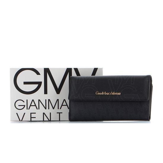 Immagine di GIANMARCO VENTURI - Portafoglio con stampe logo, patta e tasca posteriore porta carte di credito e banconote