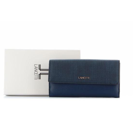Immagine di LANCETTI - Portafoglio con patta e tasca posteriore porta carte di credito e banconote