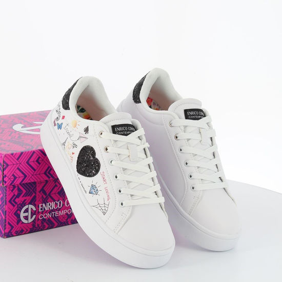 Immagine di ENRICO COVERI - Sneakers con cuore laterale e patch posteriore glitterati