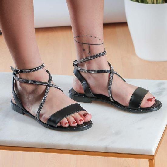 Immagine di ZOE - Sandalo con cinturino incrociato rivestito di strass