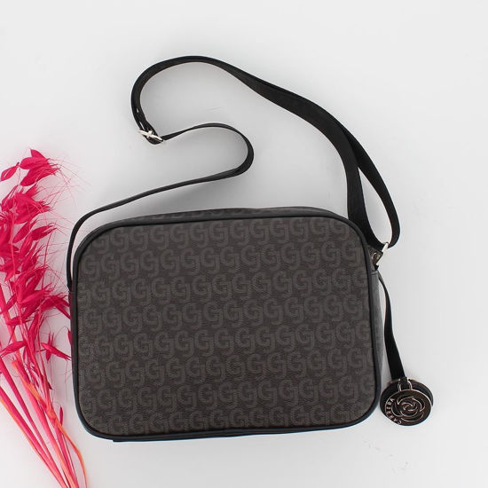 Immagine di CARRERA - Tracolla con logo stampato e charm a forma di rosa con tasca zip esterna