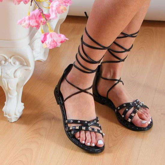 Immagine di MY JEWELS - Sandalo lace up con borchie e punti luce
