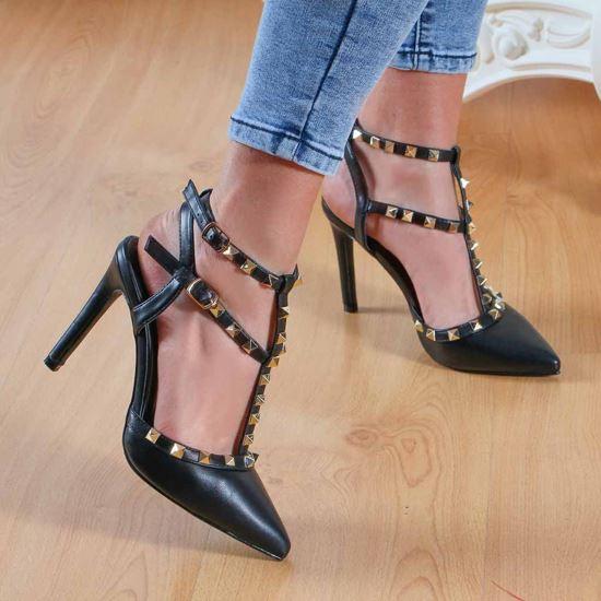Immagine di EMANUELA P. - Sandalo a punta con borchie e doppia fibbia alla caviglia, tacco 10CM