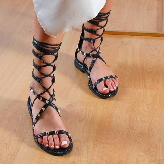 Immagine di MISS GLOBO - Sandalo alla schiava con zip posteriore e borchie