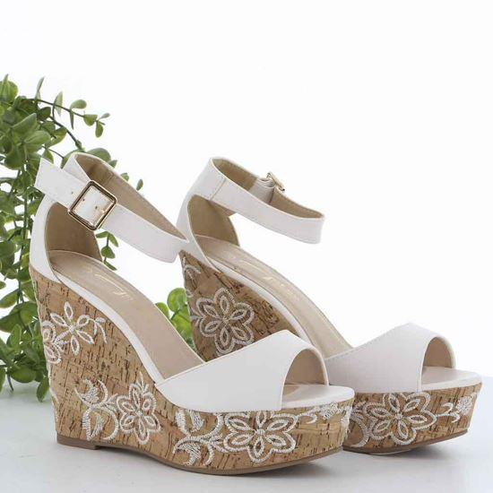 Immagine di MISS GLOBO - Sandalo con zeppa con decorazione fiori 11CM