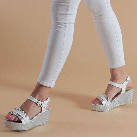 Immagine di MY JEWELS - Sandalo in VERA PELLE con fascia effetto onde, zeppa 7,5CM