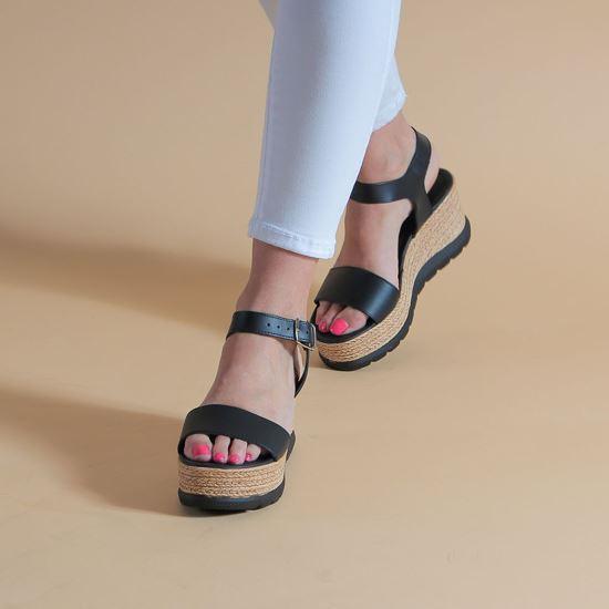 Immagine di MY JEWELS - Sandalo in VERA PELLE con zeppa 7,5CM