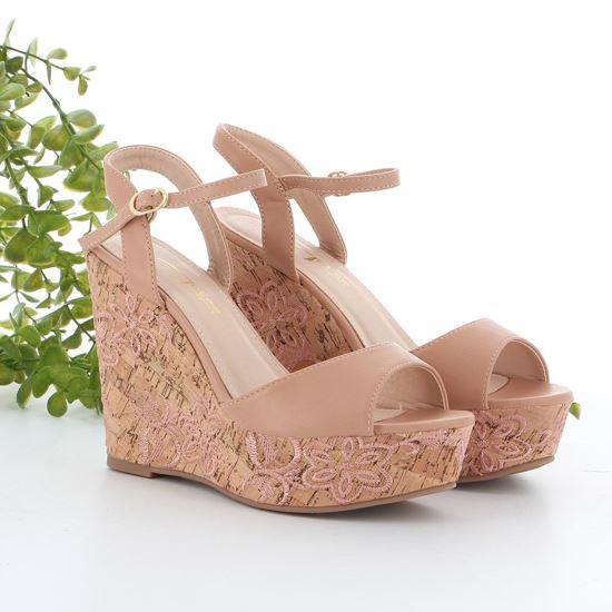 Immagine di MISS GLOBO - Sandalo con zeppa con decorazione fiori 11,5CM